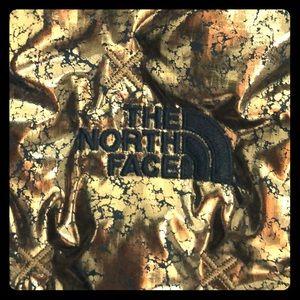 Metallic crackled gold goose down vest